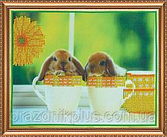 """Набор для вышивания бисером на художественном холсте """"Кролики 1"""""""