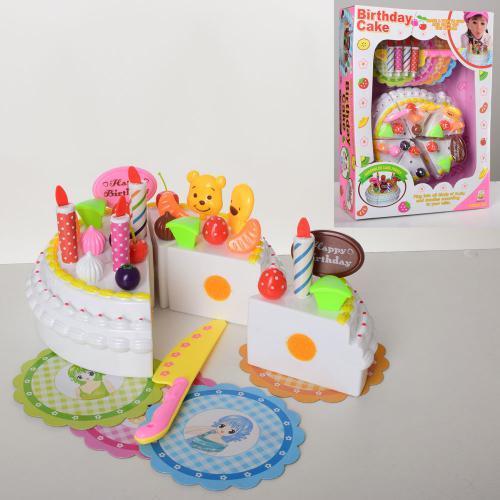 Іграшковий торт на липучці 228E17-4 ножа свічки прикраси