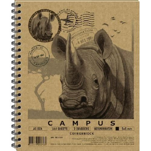 """Колледж-блок студенческий А5 """"CAMPUS"""", 144 л. с пластиковыми разделителями KRAFT"""
