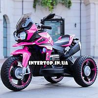 Детский трехколесный электрический мотоцикл на мягких колесах для детей от 3 до 6 лет Bambi M 4117EL розовый
