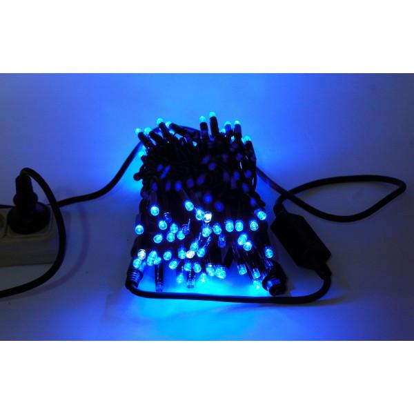 Гирлянда Нить String Синяя на чёрном проводе 10 Метр/ 100 led влагозащита IP44 ZF