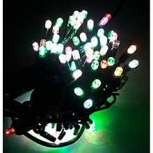Гірлянда Нитка String Різнобарвна на чорному проводі 10 Метр/ 100 led вологозахист IP44 ZF