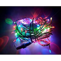 Гирлянда Нить String полу-проф Разноцветная на белом проводе (ПВХ) (9 метр 100 led) влагозащита IP44 DDF, фото 1