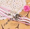 """Плетеный браслет украшение на застежке с декором и подвеской """"ключик от сердца"""", белый и розовый цвета"""