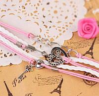 """Плетеный браслет украшение на застежке с декором и подвеской """"ключик от сердца"""", белый и розовый цвета, фото 1"""