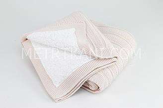 Плед вязанный с овчиной  бледно-розового цвета полоска 100% хлопок 80/90 см №57-31