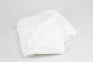 Плед вязанный с овчиной белого цвета косичка 100% хлопок 75/90 см №56-44