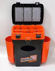 Ящик для рыбалки FISHBOX Helios двухсекционный 10л ХА-1034, оранжевый