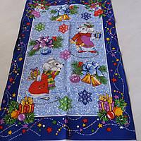 Готове бавовняний рушник з мишками, бантиками, дзвіночками на синьому, 46х58 см