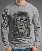 """0024 LS-GM  Мужская футболка-лонгслив """"  Лев в очках. Темно-серая меланж"""