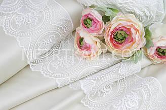 Мереживо троянди в колах колір білий, ширина 12 див. № 2500-6