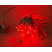 Гірлянда Нитка String Червоний на білому проводі 10 Метр/ 100 led c мерехтінням вологозахист IP44 ZF