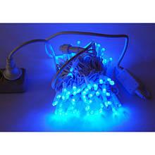 Гірлянда Нитка String Синій на білому проводі c мерехтінням 10 Метр/ 100 led вологозахист IP44 ZF