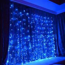 Гирлянда уличная штора синяя на белом проводе с мерцанием (2м*2м, Каучук) 216 Led VM