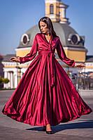 Длинное вечернее платье для полных на длинный рукав (S, M, L, XL)