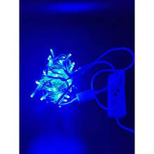 Гірлянда Нитка (String) Синій на білому дроті з мерехтінням 10 Метр/ 100 led - IP44 KX