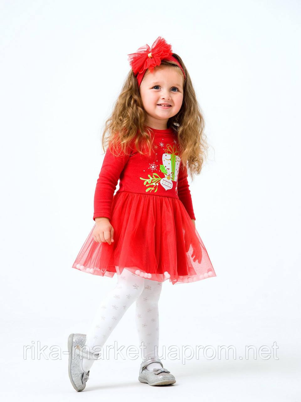 Нарядный комплект платье и повязка для девочки Smil в коробке, 109983, от 1 до 1,5 лет