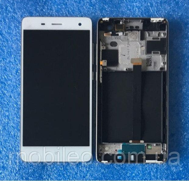 Дисплей (LCD) Xiaomi Mi4 с тачскрином и рамкой, белый
