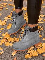 Зимние женские ботинки Тимберленд серые мех (реплика)