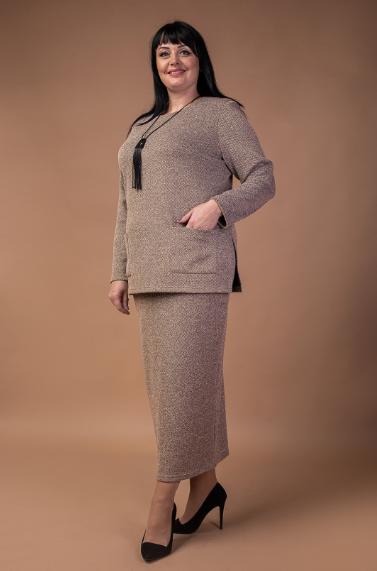 Жіночий трикотажний костюм-двійка в батальном розмірі