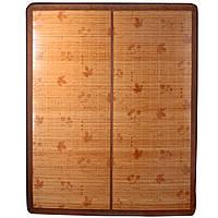 Покрывало циновка бамбук 150х195 см раскладное лакированное с цветами листьями бежевое (47704.001)