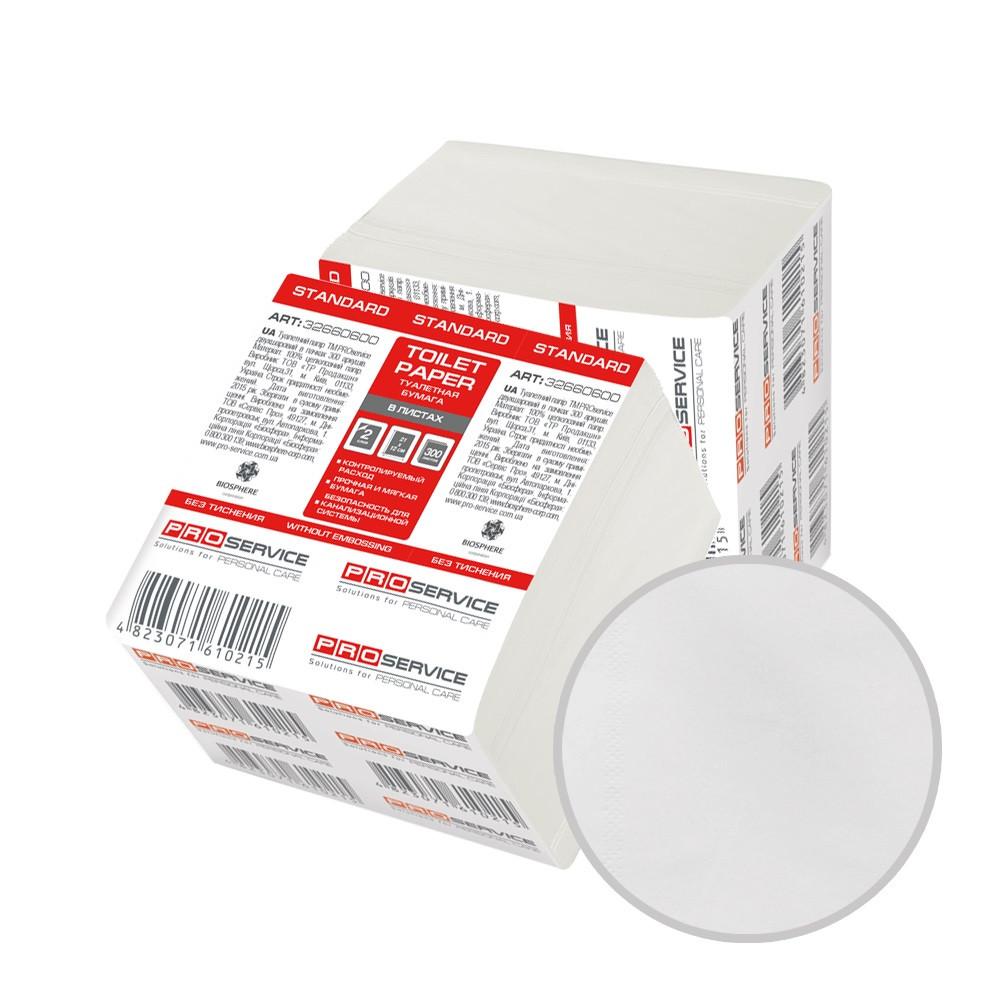 Туалетная бумага в листах 1-слойная белая 250 листов в упаковке PRO Service Standart