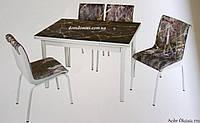 """Комплект обеденной мебели """"Siyan Mermer"""""""" (стол ДСП, каленное стекло + 4 стула) Mobilgen, Турция"""