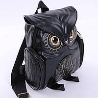 Модный женский рюкзак Сова (кожаный черный портфель)