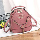 Женский рюкзак эко кожа PU чёрный розовый сиреневый красный 22х19, фото 2