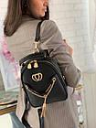 Женский рюкзак эко кожа PU чёрный розовый сиреневый красный 22х19, фото 5