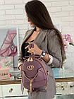 Женский рюкзак эко кожа PU чёрный розовый сиреневый красный 22х19, фото 7