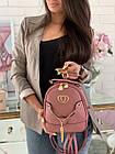 Женский рюкзак эко кожа PU чёрный розовый сиреневый красный 22х19, фото 3