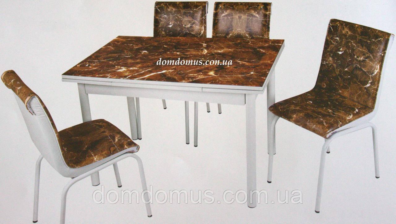 """Комплект обідній меблів """"Kanve Mermer"""" (стіл ДСП, гартоване скло + 4 стільця) Mobilgen, Туреччина"""