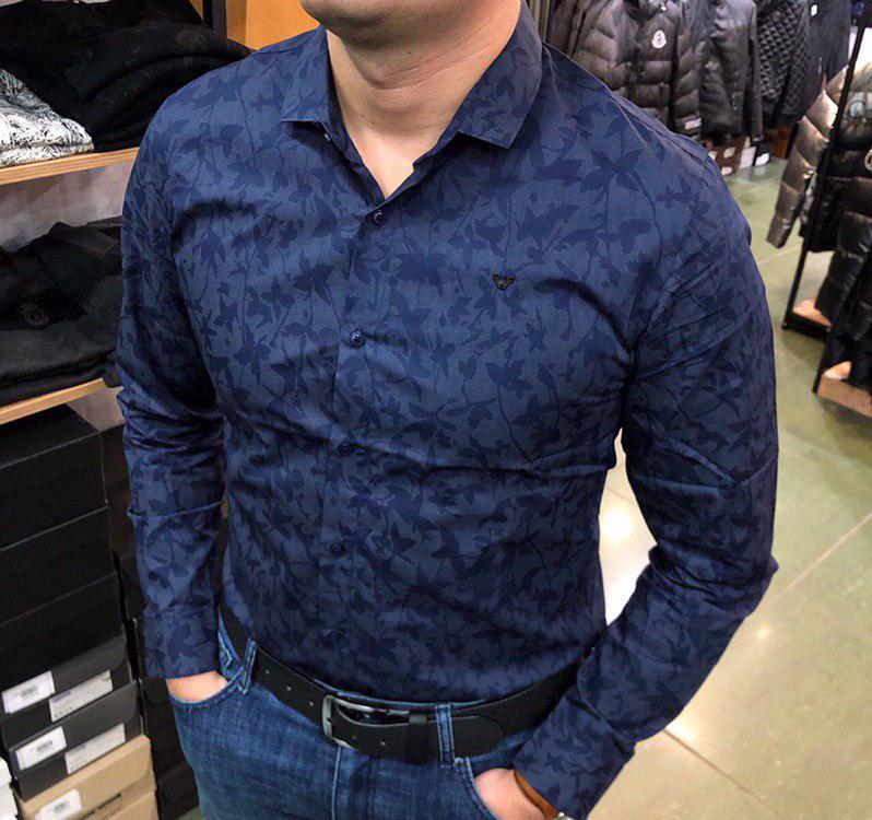 Рубашка мужская Armani P0253 темно-синяя