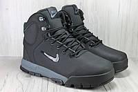 Nike зимние мужские высокие кроссовки натуральный нубук черные