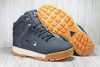 Nike зимние мужские кроссовки натуральный нубук синие