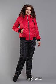 Костюм зимний женский на овчине Штаны Черные Куртка Красная Большого размера