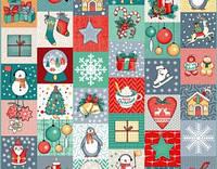 Ткань для вафельных полотенец ш.50 Новогодние клаптики