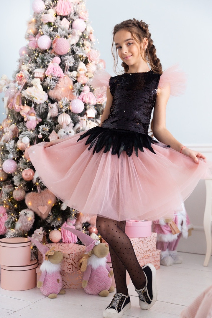 Детский нарядный костюм топ пайетка и пышная юбка пояс на резинке костюм на выход размер: 134, 140, 146, 152