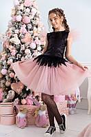 Детский нарядный костюм топ пайетка и пышная юбка пояс на резинке костюм на выход размер: 134, 140, 146, 152, фото 1