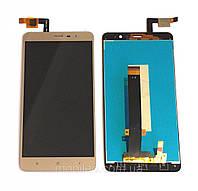 Дисплей (LCD) Xiaomi Redmi Note 3 Pro SE с тачскрином, золотой (150x73мм)