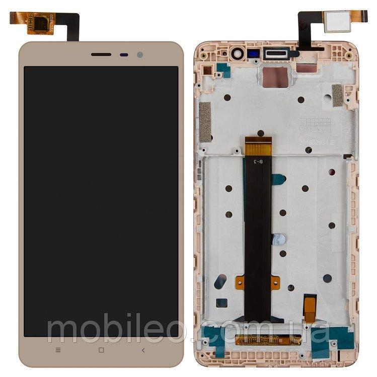 Дисплей для Xiaomi Redmi Note 3 Pro с тачскрином и рамкой, золотой (147x73мм)