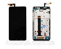 Дисплей (LCD) Xiaomi Redmi Note 3 с тачскрином и рамкой, чёрный (150x73мм)