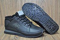 Зимние кожаные черные ботинки на меху New Balance 754