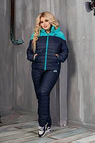 Костюм зимний женский на овчине Темно синий Большого размера