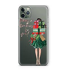 Чехол силиконовый новогодний на iPhone 11 / 11 Pro / 11 Pro Max, девушка с новогодними подарками