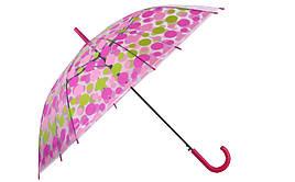 Зонт-трость прозрачный, полуавтомат, 8 спиц, розовый/салатовый