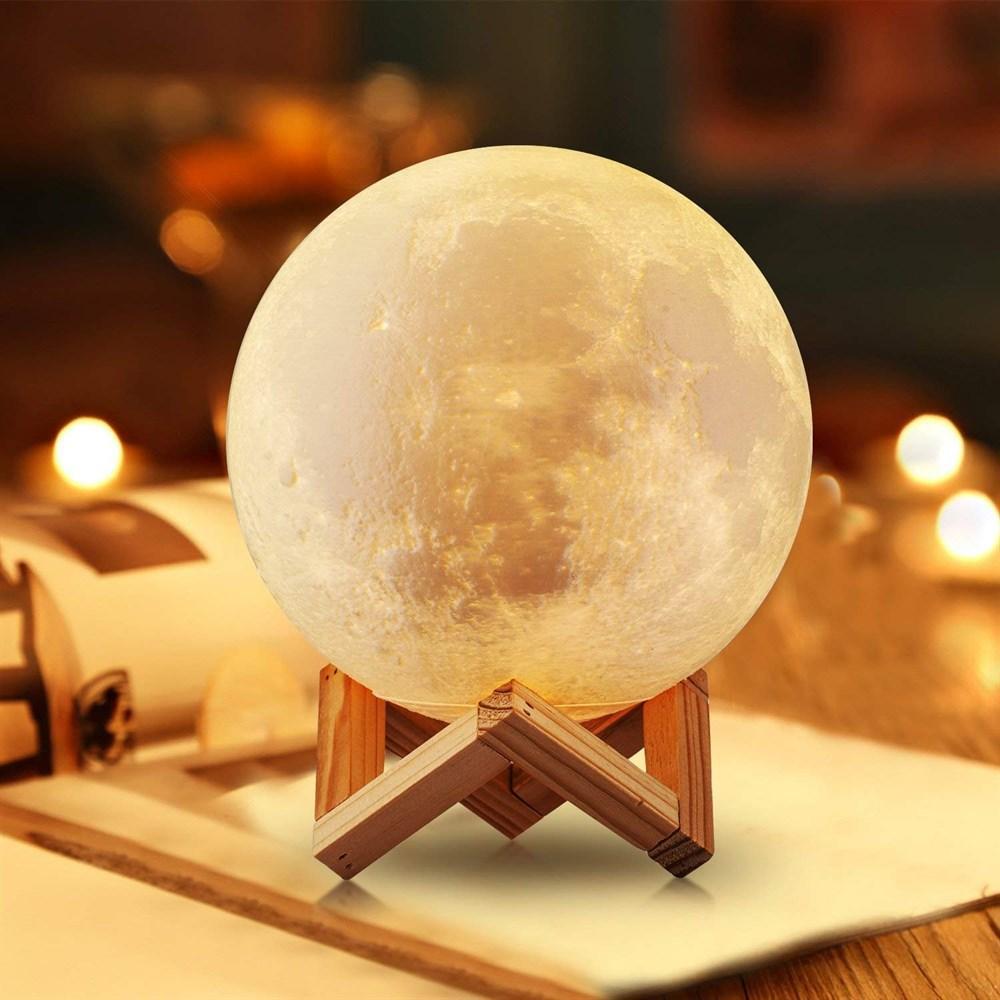 """Детский ночник 3D """"Луна"""" светильник лампа 3D Moon Touch Control 18 см беспроводной, фото 1"""
