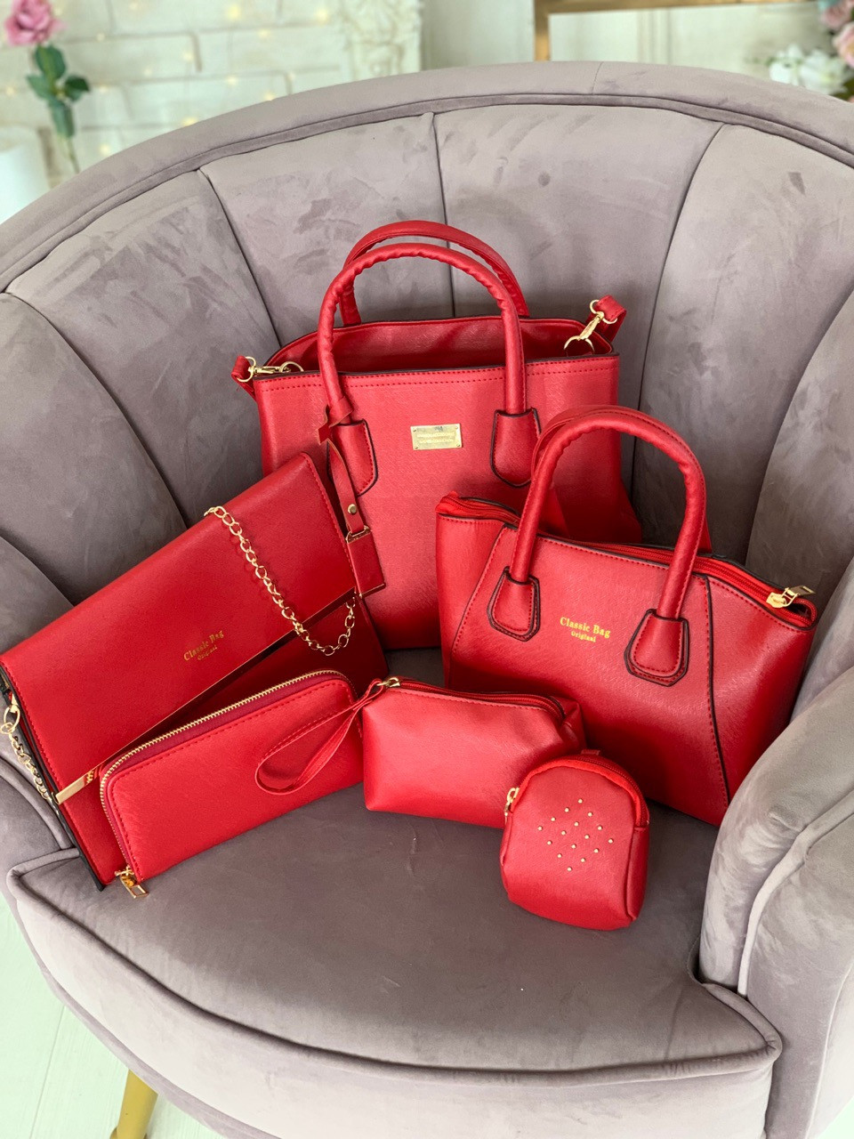 Женская сумка 6 в 1 эко кожа PU чёрный красный синий молочный