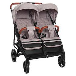 Детская прогулочная коляска для двойни Carrello Connect CRL-5502 Cotton Beige в льне